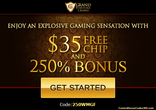 Grand Fortune casino offers players $35 free chip bonus when they sign up. Open to players from USA, Canada, Australia, New Zealand and more.